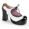 GOTHIKA-10 Black Patent/White Vegan Leather